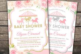 carousel baby shower 10 printed or digital carousel baby shower invitation