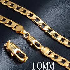 gold chain necklace woman images Gold chain necklace hot necklace fashion jewelry 18 k 10mm 20 inch jpg