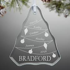 etched glass ornaments personalized personalized family christmas ornaments glass christmas tree