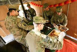 u s soldiers celebrate thanksgiving in a base of iraq