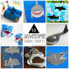 10 jawsome shark crafts for kids in the playroom