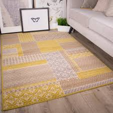 Tapis Beige Salon by Tapis De Salon Traditionnel Milan Motif Patchwork Ocre Gris Beige
