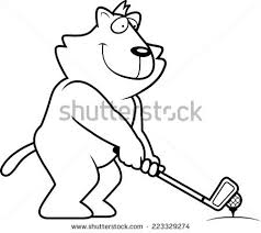 cartoon illustration lion playing golf stock vector 222849313