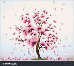 floral tree beautiful birds stock vector 46213870