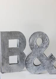 2 faux metal letters zinc steel initial home room decor diy