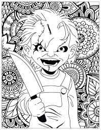 chucky coloring page horror chucky coloring pages for adults justcolor