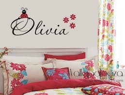 monogram wall decals for nursery lady bug wall decal ladybug wall decal girls name decal