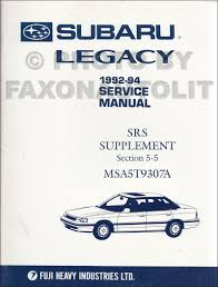 1992 subaru legacy repair shop manual original 4 volume set