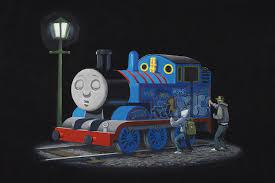 thomas tank engine art print banksy icanvas