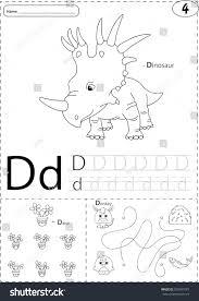cartoon dinosaur daisy donkey alphabet tracing stock vector