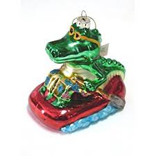 glass alligator ornament with lights