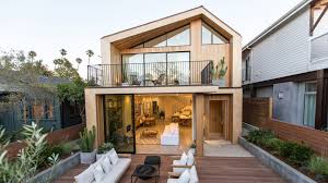 askew pitched roof and outdoor lounge feature in venice beach