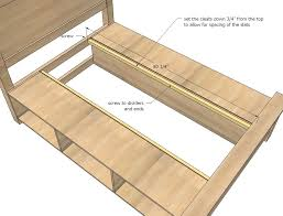 Plans Building Platform Bed Storage by Bed Frame Diy Wood Bed Frame With Storage Ana White Build Diy