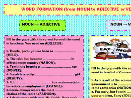 formation from noun to verb or adjective