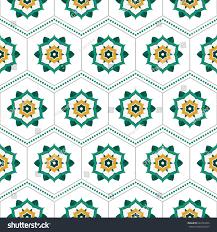 seamless pattern beautiful round wreath green stock vector