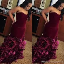 elegant plus size prom dresses burgundy velvet top strapless