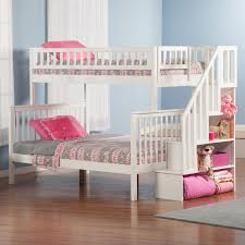 ne kids schoolhouse stairway loft bed with chest end white
