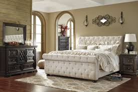 Greensburg Bedroom Furniture By Ashley Willenburg Linen Upholstered Sleigh Bedroom Set From Ashley