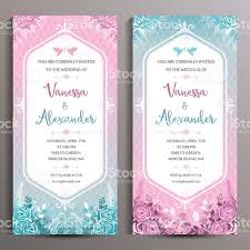 wedding invitation two floral vertical cards size is 10x21 cm