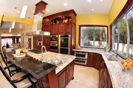 granite kitchen countertops with backsplash two wooden bar stool