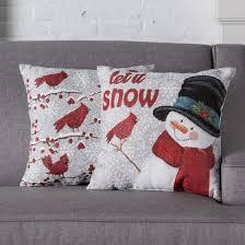 holiday time snowman u0026 cardinal decorative throw pillows 2 pack