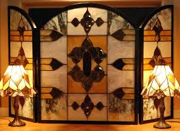 cool stained glass fireplace screen suzannawinter com