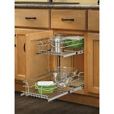 kitchen cabinet storage solutions lowes rev a shelf 11 75 in w x 19 in h metal 2 tier pull out cabinet basket