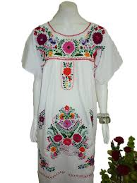 any color peasant vintage tunic embroidered mexican dress xs s m l