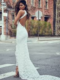 open back wedding dresses buy sheath neck sweep open back lace wedding dress