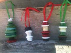 button wreath tree ornaments made from vintage buttons glued onto