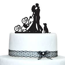 wedding cake toppers and groom wedding cake toppers with dog and groom silhouette mr and