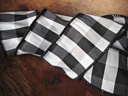 black and white wired ribbon 4 inch wide black and white buffalo check faux silk ribbon from