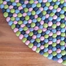 Nepal Felt Ball Rug Sky Felt Ball Rug 100 Cm Pom Pom Rug Nursery By Myfeltballrugs