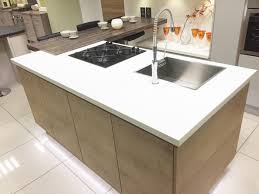 modern kitchen island with hob sink and breakfast bar area www
