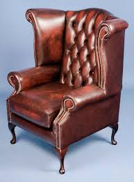Queen Anne Wingback Chair Queen Anne Style Red Leather Wingback Armchair