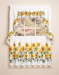 Kitchen Curtains At Walmart Sunflower 3 Piece Kitchen Curtain Tier Set Curtainworks Com