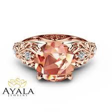 pink morganite pink morganite engagement ring 14k gold engagement ring