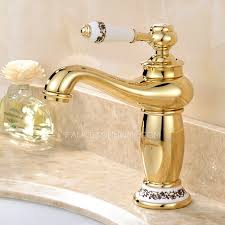 One Handle Bathroom Faucets Antique Gold Polished Brass Single Handle Bathroom Faucet