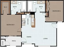 Two Bedroom Floor Plan by The Galilean Apartments For Rent In Edinburg Texas