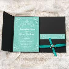 teal wedding invitations teal watercolor satin ribbon rhinestone black pocket wedding
