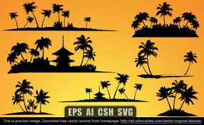 palm tree svg vector tropical islands all silhouettes
