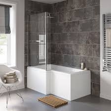1500 mm left hand l shaped straight shower bath with shower screen
