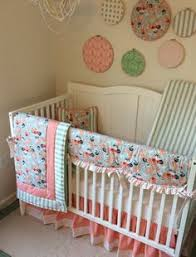 navy mint coral and gold crib bedding for a baby https www