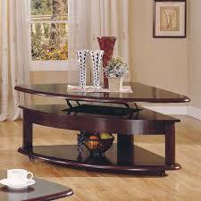 corner wedge lift top coffee table buy lidya corner wedge lift top cocktail table by steve silver from