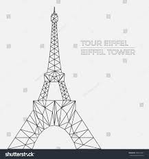 vector illustration eiffel tower polygonal style stock vector