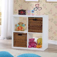 storage white 4 cube storage unit with wicker hamper and beige