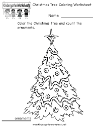 kindergarten christmas tree coloring worksheet printable
