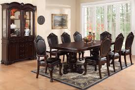 84 formal cherry dining table set poundex f2182