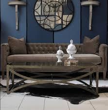 bernard hollywood regency antique brass leaf mirrored coffee table