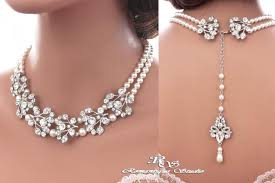pearl crystal statement necklace images Bridal backdrop necklace silver color crystal wedding necklace jpg